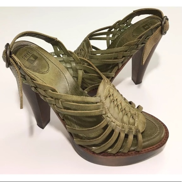 c62663428685c Frye Shoes - FRYE Strappy Heels Distressed Leather Joy Huarache